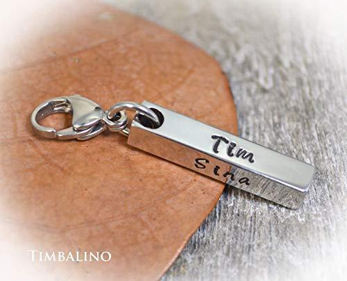 Schlüsselanhänger mit Gravur aus Edelstahl, Barren, Karabiner