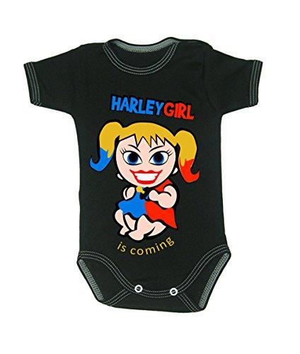 Couleur Mode bébé Harley Quinn bodies à manches courtes 100% coton Petit bébé – 24 mois – 0007 noir 0-3 months, 62 cm