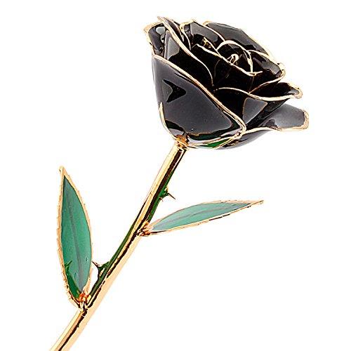 24K Gold Rose, Echte Rose vergoldete Rose Blume Ewige Rose, Geburtstagsgeschenk Valentinstagsgeschenke Jahrestag Geschenke für Frau, 12 Zoll mit exquisiter Verpackung und Zertifikat (015-Schwarz)