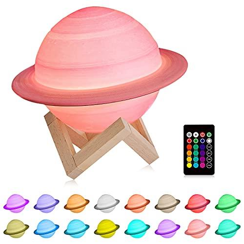 Topwor Lámpara de Saturno 3D Lámpara de Luna Regulable 16 Colores Luz Nocturna con Control Remoto Lampara Saturno con Soporte de Madera Planetas Lampara para Niños Amigos
