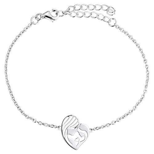 YL Madre e hija Pulsera 925 Corazón de plata Pulsera Regalos para mujeres mamá, (17 + 3CM)