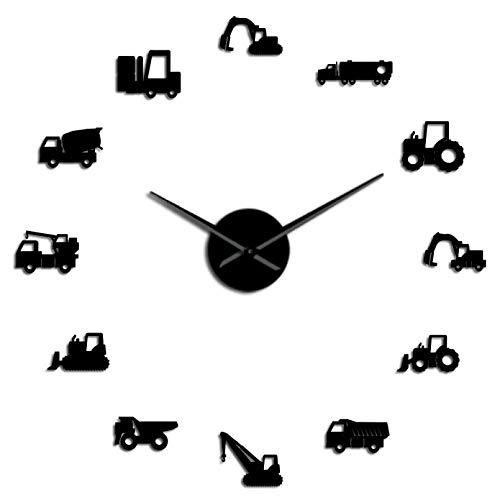 YQMJLF Reloj Pared DIY 3D Grande Excavader Scooper máquina de Operador de Equipo Pesado DIY Reloj de Pared Gigante construcción Oficina Arte vehículos de Trabajo Hombre decoración de CuevaNegro