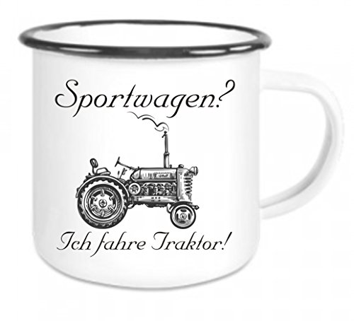 Crealuxe Emaille Tasse mit Rand Sportwagen? Ich fahre Traktor - Kaffeetasse mit Motiv, Campingtasse Bedruckte Email-Tasse mit Sprüchen oder Bildern