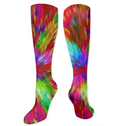 Sunny R Calcetines de senderismo con estampado de colores de arcoíris, casuales, hasta la rodilla