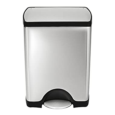 simplehuman 30 Liter / 8 Gallon Stainless Steel Rectangular Kitchen Step Trash Can, Brushed Stainless Steel