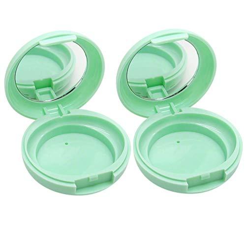 Beaupretty 2 Pcs Lâche Boîtes de Poudre Vides Conteneurs de Maquillage Portable Cosmétiques Rechargeables Conteneurs avec Miroir sans Poudre Feuilletée Vert