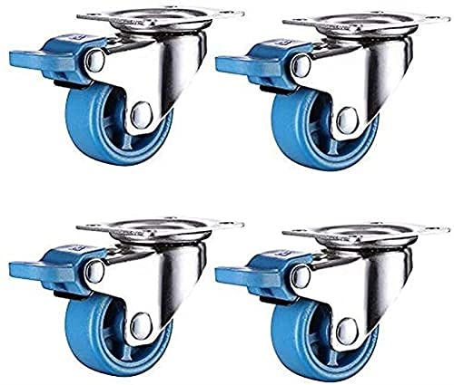 Ruedas en movimiento Ruedas de trolley Ruedas Muebles Caster con frenos Ruedas Pequeñas ruedas con ruedas de freno silencioso para el desgaste de nylon Ruedas giratorias giratorias de 360 grados (ta