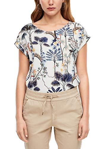 s.Oliver RED LABEL Damen T-Shirt mit Rückenausschnitt offwhite AOP flowers 38