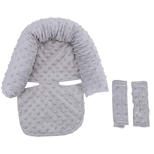 Cojín para cochecito Cojín para cochecito infantil Cojín para asiento Nido para bebés (Gris/Rosa claro)(gray, Baby headrest)