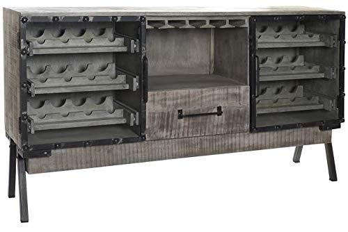DRW Botellero con 1 Cajón y 6 Estantes de Mango y Metal en Natural Envejecido y Negro 180x40x100cm