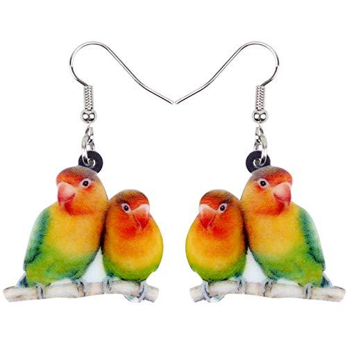 NEWEI Acrylic Sweet Africa Fischers Lovebird Parrot Earrings Dangle Drop Fashion Animal Jewelry for Women Girls Gift Charms