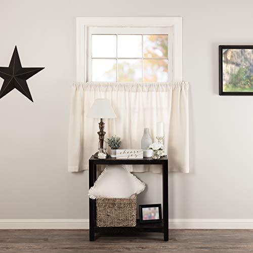 VHC Brands Burlap Cafe Tier Set Farmhouse Cotton Window Treatment in Antique Off-White for Kitchen Curtain, 36x36