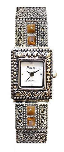 Picador Reloj de marcasita para Mujer en Acabado de Metal Antiguo con Piedras Marrones, Cuarzo analógico, Doble Corchete, batería Extra