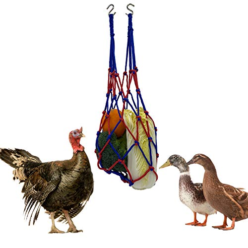 Chicken Feeder net Chicken Vegetable Bag Poultry Fruit Holder Chicken Cabbage Feeder Treat Feeding Tool with Hook for Hens, Goose, Duck, Large Birds(1pcs net+2pcs S Hook)