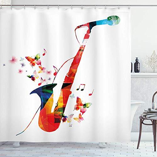 QDAS 60X72inch Muziek Douche Gordijn Jazz Thema Saxofoon met Microfoon met Vlinder Orkest Harmonie Ontwerp Doek Stof Badkamer Decor Set met Haken