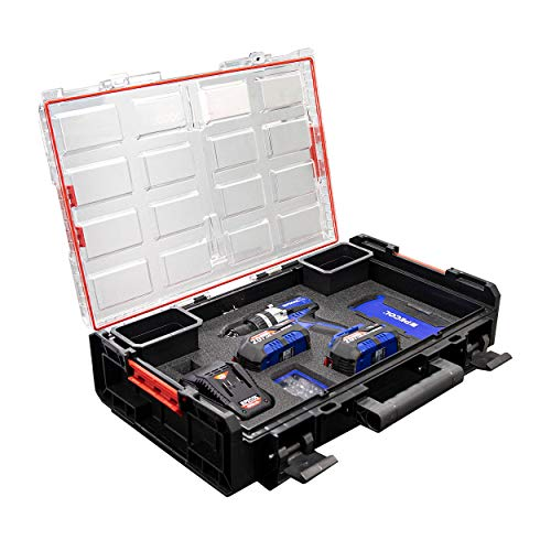 Taladro Combi 20V Brushless (PACK) PECOL POWERTOOLS, juego de 19 brocas, 32 bits, 2 baterías de 4Ah, cargador y maleta