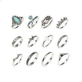 تاج 12 خاتم مرصع بالأحجار الكريمة على شكل وردة خواتم أصابع مبتكرة بطراز قديم