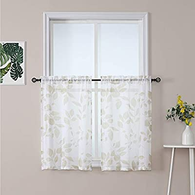Haperlare Kitchen Curtains 36 inch Leaf Floral Printed Sheer Tier Window Curtains, Taupe Leaves Quatrefoil Cafe Curtains Rod Pocket Small Half Window Treatment Set Short Curtains, Set of 2
