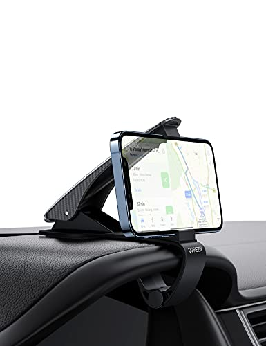 UGREEN Soporte Movil Coche Salpicadero, Soporte para Teléfono de Coche Pinza Fuerte Sujeta Móvil Coche HUD para GPS Car Phone Holder para Xiaomi Redmi Note 9 iPhone 12 11 Pro XS MAX X 8 7 Samsung S9