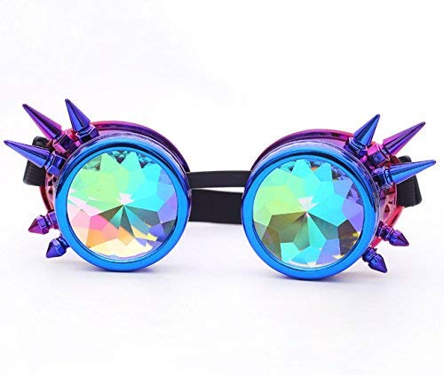 Zaiqun Steampunk-Rave-Brille mit Stacheln und Regenbogengläsern, Kaleidoskop, Cosplay Blau / Violett