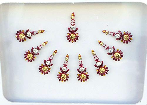 BB159 Rouge Bindi Or Cristal Perle Bindi Tattoo autocollant de mariage Forehead Tikka Indian Fancy Party arabe face Gem Body Art