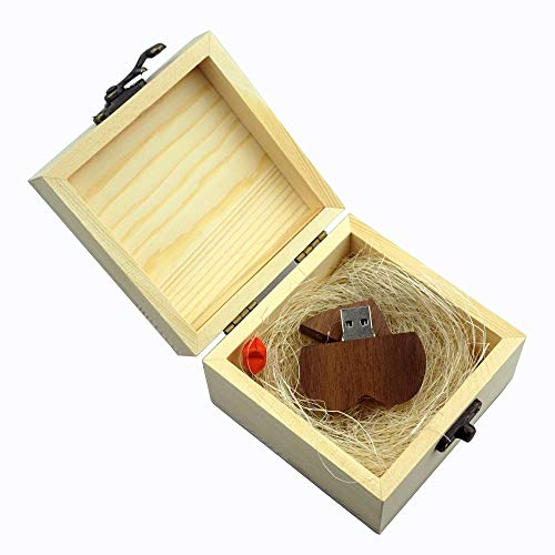 LUCKCRAZY 16 GB Noce Cuore Compleanno Matrimonio Chiavetta USB Regalo Memory Stick USB in legno con confezione regalo (16GB, Walnut Heart USB+Wooden Box)