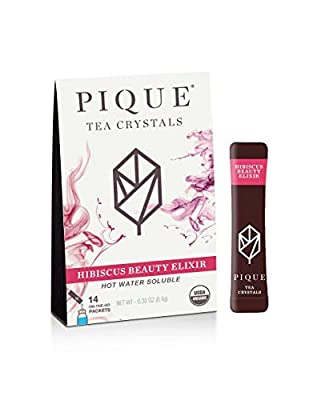 Pique Tea Organic Hibiscus Beauty Elixir - Rejuvenate, Gut Health, Calm - 1 Pack (14 Sticks)