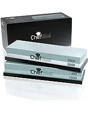 ChefMe! Slipsten för knivar (set 400/1000/3000/8000)   brynsten med halkfri silikonhållare och engelska instruktioner