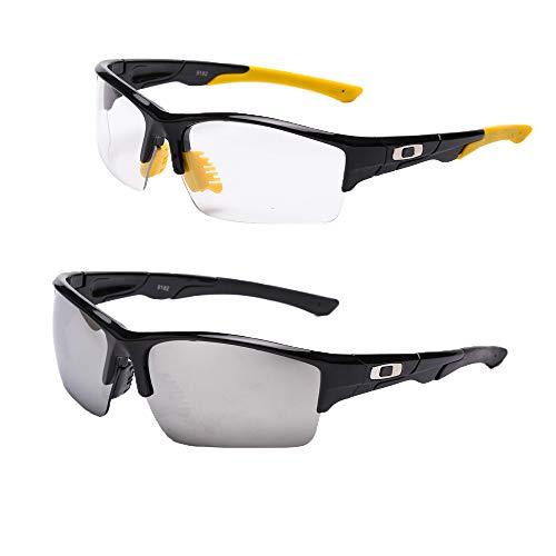 SaNgaiMEi 2 piezas Gafas de ciclismo al aire libre B738 Gafas deportivas unisex polarizadas UV400 para conducir Pesca Glof Béisbol Correr Senderismo