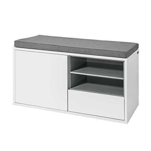 SoBuy FSR37-W Sitzbank mit Sitzkissen Bettbank Schuhschrank Garderobenbank weiß BHT ca: 80x46x35cm