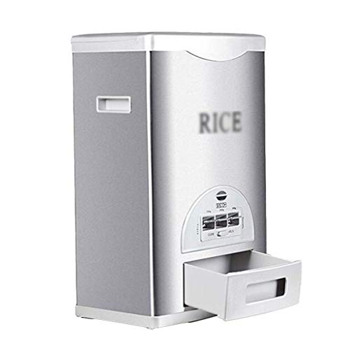 YAeele Caja sellada de arroz Grano Almacenamiento Contenedores Multifuncional Inteligente Medición Cubierta de arroz Cocina Sellado Grano Barril Insecto Prueba y humedad (Color: Plata, Tamaño: 50 * 30