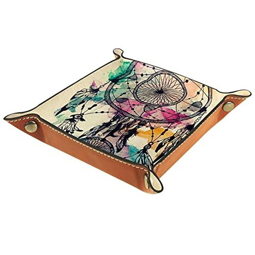Organizador de escritorio de la bandeja del colector de la bandeja del valet para las mujeres de los hombres Bandeja de la llave para la moneda de la mesa sueño pluma viento chimenes for Office home