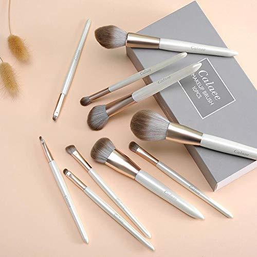 Jieqiong Maquillage Pinceau Ensemble 10 brosses de Maquillage débutants Outils de beauté Cheveux Doux,Box Yellow Brush