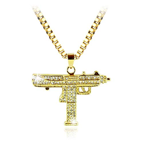 Accesorios Collar Colgante Arma Hombres Mujeres Oro Rhinestone del Color del Encanto Pendiente de la Calidad Fina Cadena de Oro joyería Punky Regalo (Metal Color : Xl0538)