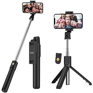 Gritin Palo Selfie Trípode, 3 en 1 Selfie Stick Móvil Bluetooth con Inalámbrico Control Remoto, Monópode Extensible para Phone 11 Pro Max / 11 Pro / XS Max / XR / 8, Galaxy S10 / S9 , Huawei, Xiaomi