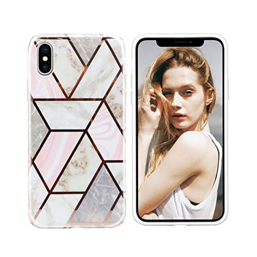 Nupcknn Funda Marmol para iPhone X iPhone XS, Carcasa TPU Suave Silicona Ultra Delgado Case Cover Protectora para iPhone X iPhone XS (Marmol 9)