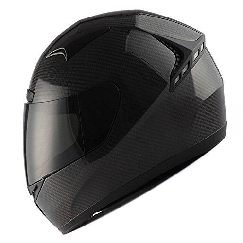 Genuine Carbon Fiber Motorcycle Street Bike Full Face Helmet Black, 3.2lb only