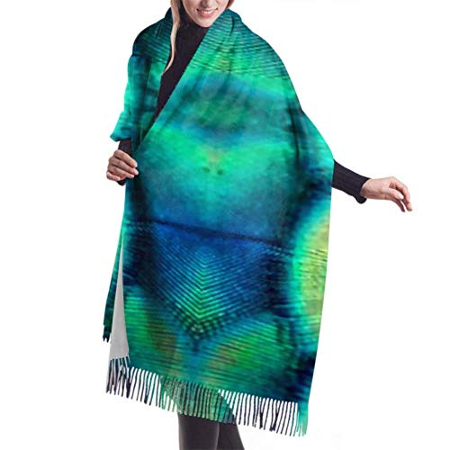 Fringed Scarf,Blanket,Tapestry,Dresses Accessories,Close Peacock Feathers Premium Tassel Poncho Shawl Cape