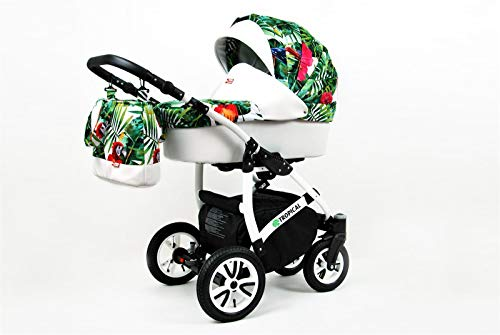 Kinderwagen 3in1 2in1 Set Isofix Buggy Babywanne Autositz Tropic by SaintBaby Parrots in the Tropic 3in1 mit Babyschale