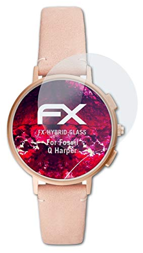 atFoliX Glasfolie kompatibel mit Fossil Q Harper Panzerfolie, 9H Hybrid-Glass FX Schutzpanzer Folie