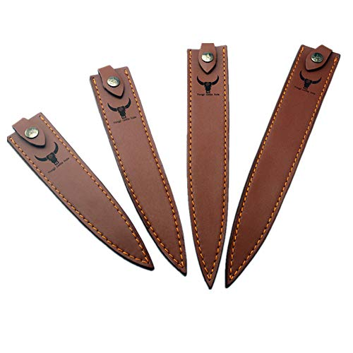 Aibote - Funda de piel para cuchillo Sashimi con trabilla para cinturón, caza, cuchillos de chef y bolsillo para cuchillos de doble filo