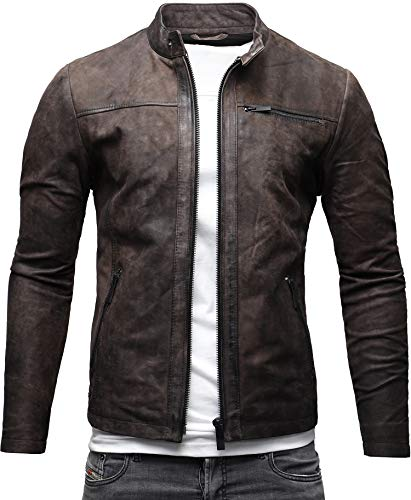 Crone Epic Herren Lederjacke Cleane Leichte Basic Leder Jacke aus weichem Rindsleder (XL, Elephant (Nubukleder))