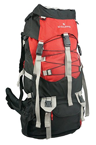 K-Cliffs Wholesale Hiking Backpack Bulk Quantity Large Scout Camping Backpacks 7000CI Outdoor Travel Bag Emergency Survival Pack w/Rain Cover Case Lot 6pcs Red