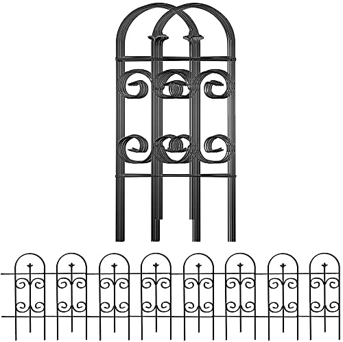 Amagabeli 81CM X 38CM X 7 Stück Gartenzaun Metall Zaunelementen Gartenzäune Dekorative Zaun Gartenzaun Klein Metall