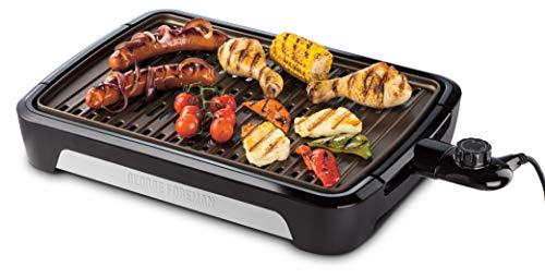 George Foreman Grill Smokeless Tischgrill, raucharmer Indoor BBQ Grill inkl. spülmaschinenfesten Grillrost, Fettauffangschale, vertikale Verstaumöglichkeit, verstellbare Temperatureinstellung,25850-56