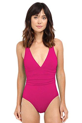 Lauren by Ralph Lauren Women's Plunge Neck Cross-Back One Piece Swimsuit (14, Pink)