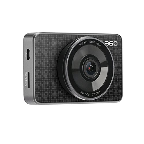 "360 Car Dash Cam, 3.0"" LCD FHD 1080p 165° Wide Angle Car DVR Vehicle Camera Recorder with Ambarella A12, G-Sensor, WDR, Motion Detection, Loop Recording, Bluetooth Button & 16G Micro SD Card"