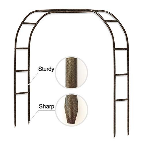 Metal Garden Arch,7.8 Feet High x 5.5 Feet Wide Sturdy Metal Arbor with Sharp Ends for Climbing Vines and Plants,Weddings Quinceaneras Party Decoration