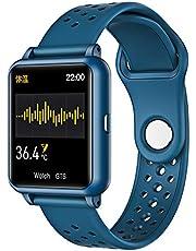 Sxgyubt Reloj inteligente medidor de temperatura ritmo cardíaco monitor de presión arterial Bluetooth pulsera deportiva, Verde, tamaño único