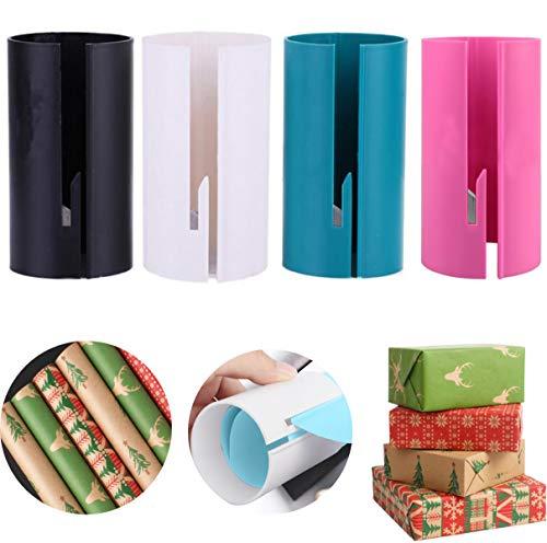 Liuer 4PCS Geschenkpapier Schneid Werkzeug Tube Geschenk Cutter Schieberolle Wrap Paper Safe Trimmer Cutter mit Eingebetteten Scheibe Papiere Schneidwerkzeuge für Weihnachten Thanksgiving Festival
